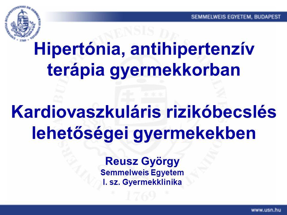 """7/24/2014Reusz: hypertonia3 A téma jelentősége Felnőttkori hypertonia gyakorisága, szerepe a morbiditásban és mortalitásban Gyermekkori hypertonia – Sokáig kizárólag szekunder, renalis és ritkán endokrin eredetűnek tartottuk (prevalencia<0.5%) – Új """"epidemia gyermekkorban: a hypertonia az asthma és az obesitás után a harmadik leggyakoribb krónikus betegség gyermekkorban (prevalencia 3-6% !)"""