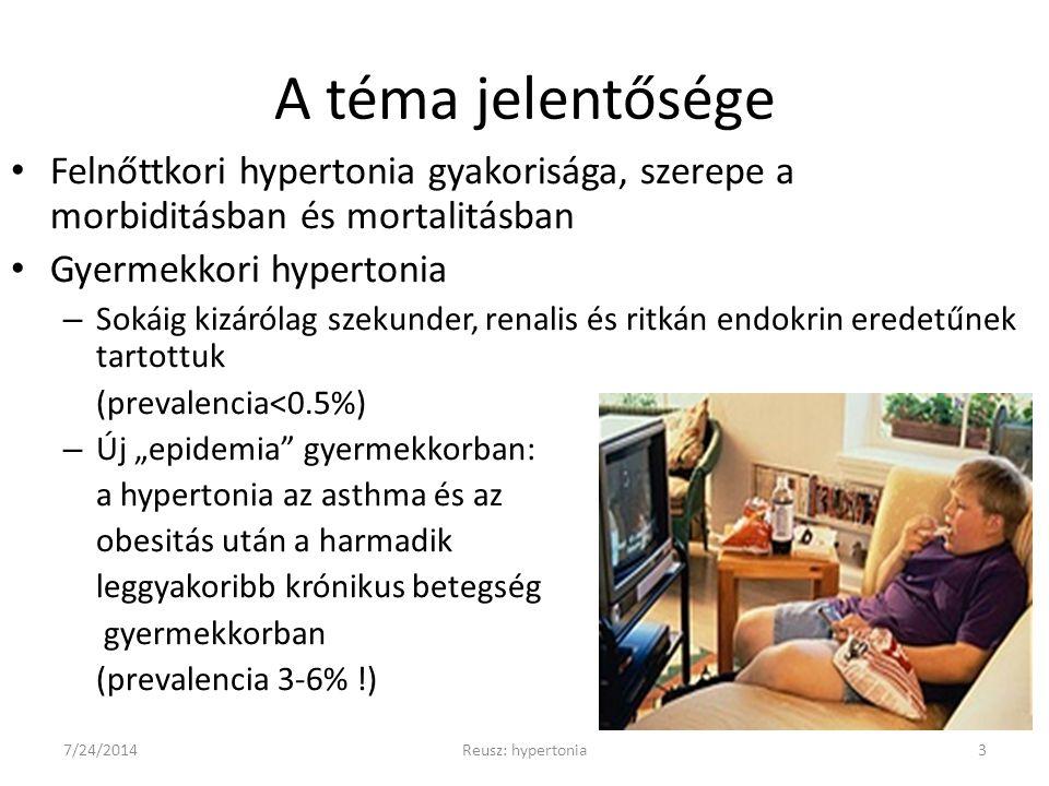 Az antihipertenzív terápia sajátosságai gyermekkorban Gyermekkorban relatíve ritka betegség, ezért – kevés a rövidtávú farmakológiai hatásvizsgálat – nincsenek nagy populáción végzett, kemény végpontokat felmutató vizsgálatok (kivéve: ESCAPE) – főleg a korszerű gyógyszekkel nincs/kevés tapasztalat (slow release, GITS, tartós hatású gyógyszerek) – nincs megfelelő a kiszerelés (túl nagy egyszeri dózis, nincs szirup/suspensió formájában) gyakoribb a súlyos vesebetegség - extrem dosisok és kombinációk szükségességével