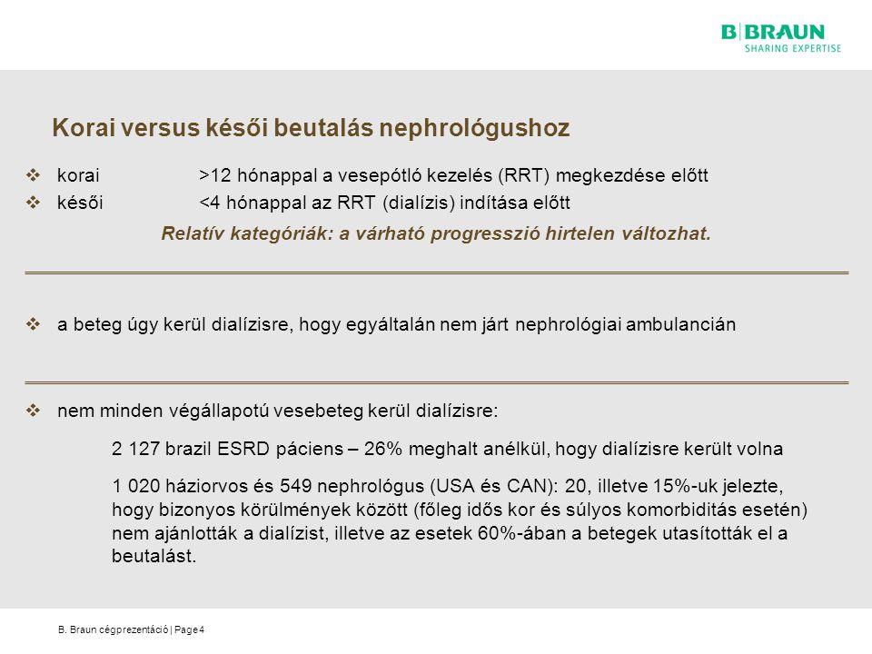 B. Braun cégprezentáció | Page Korai versus késői beutalás nephrológushoz  korai>12 hónappal a vesepótló kezelés (RRT) megkezdése előtt  késői<4 hón