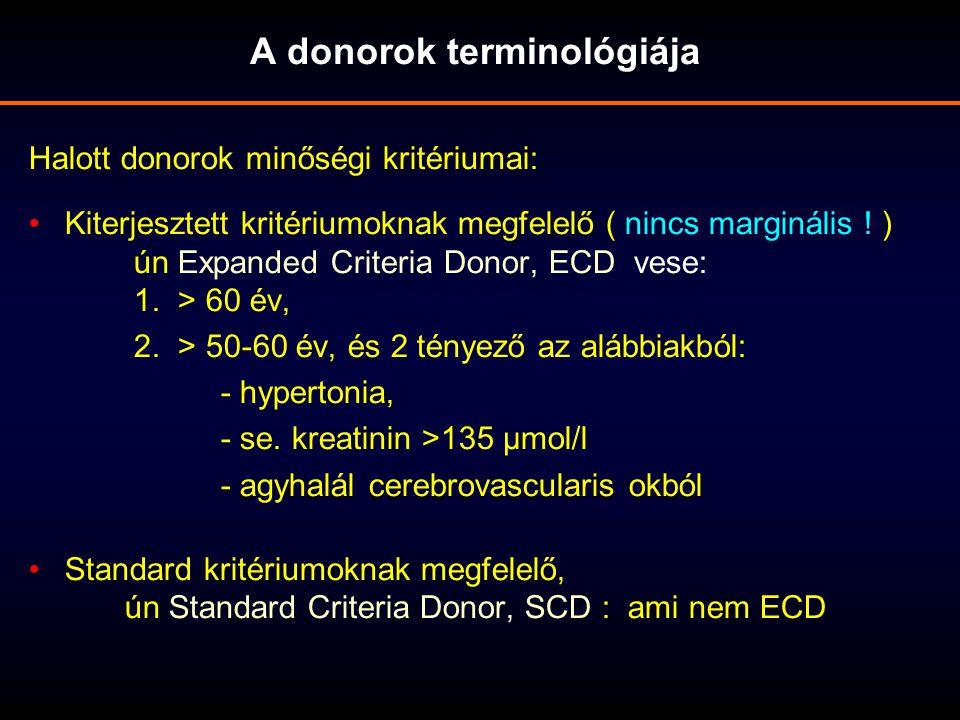 Halott donorok minőségi kritériumai: Kiterjesztett kritériumoknak megfelelő ( nincs marginális ! ) ún Expanded Criteria Donor, ECD vese: 1. > 60 év, 2