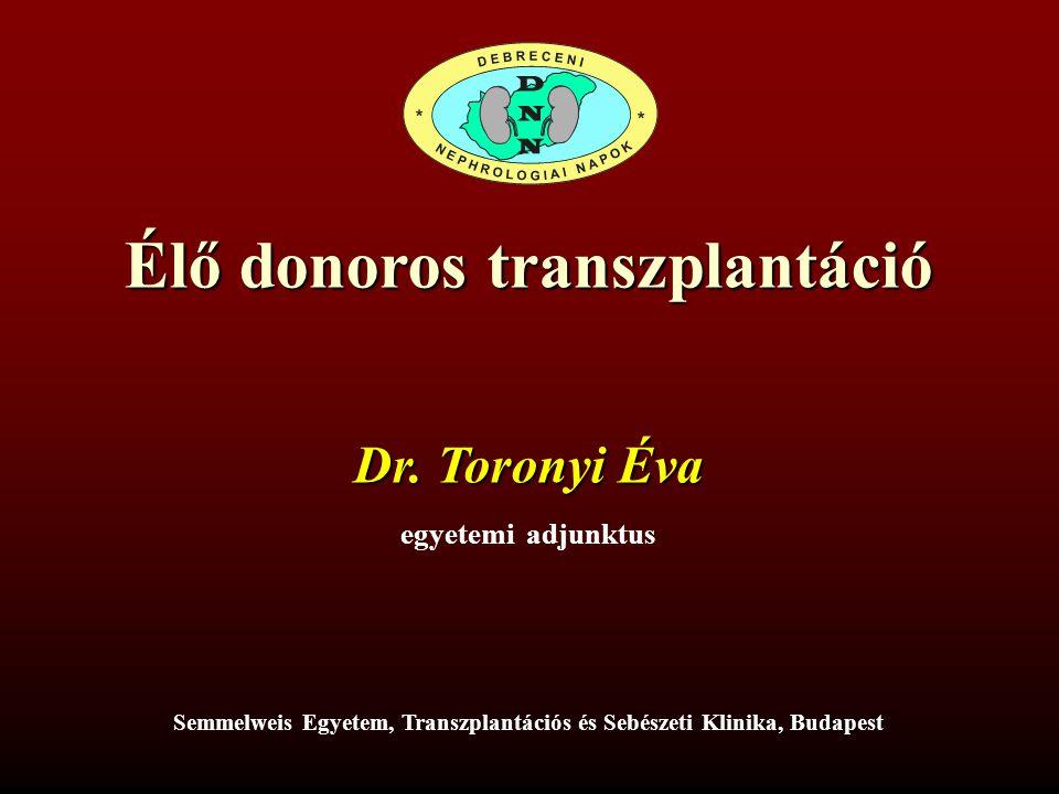 EREDMÉNYEK 2011-ben 34 élődonoros veseátültetést végeztünk (24,11%-a az összes transzplantációnak) –Szülő-gyermek10 –Házaspár10 –Testvér7 –Érzelmileg motivált5 –Gyermek-szülő2
