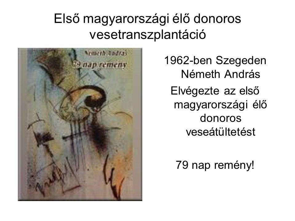 Első magyarországi élő donoros vesetranszplantáció 1962-ben Szegeden Németh András Elvégezte az első magyarországi élő donoros veseátültetést 79 nap r