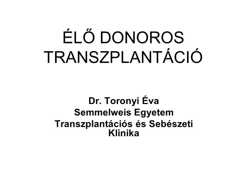 ÉLŐ DONOROS TRANSZPLANTÁCIÓ Dr. Toronyi Éva Semmelweis Egyetem Transzplantációs és Sebészeti Klinika