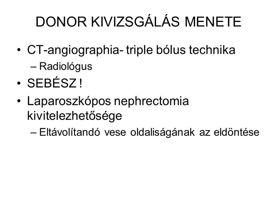 DONOR KIVIZSGÁLÁS MENETE CT-angiographia- triple bólus technika –Radiológus SEBÉSZ ! Laparoszkópos nephrectomia kivitelezhetősége –Eltávolítandó vese