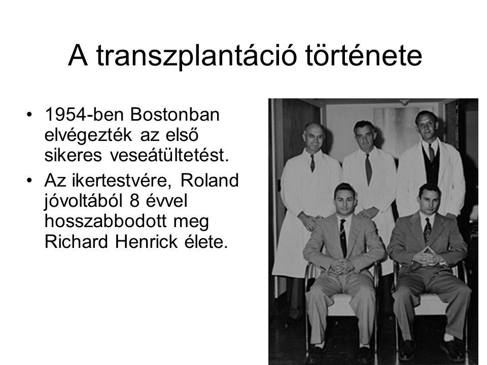 A transzplantáció története 1954-ben Bostonban elvégezték az első sikeres veseátültetést. Az ikertestvére, Roland jóvoltából 8 évvel hosszabbodott meg