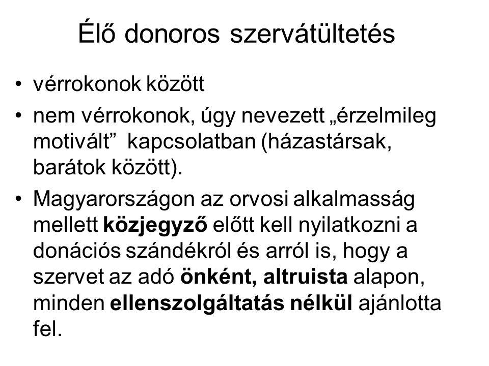 Átültetett vesék három éves túlélése - HLA identikus testvér90% Házaspár (n=368)85% Nem házaspár, élő donor(n=129)81% Cadaver donor70% Ischaemiás idő!.