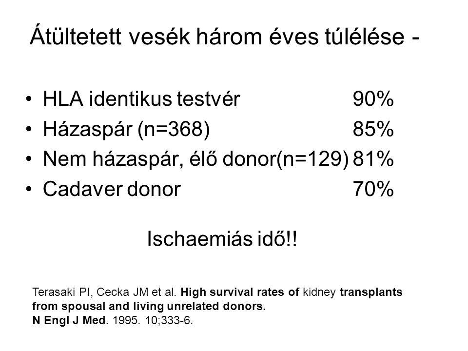 Átültetett vesék három éves túlélése - HLA identikus testvér90% Házaspár (n=368)85% Nem házaspár, élő donor(n=129)81% Cadaver donor70% Ischaemiás idő!