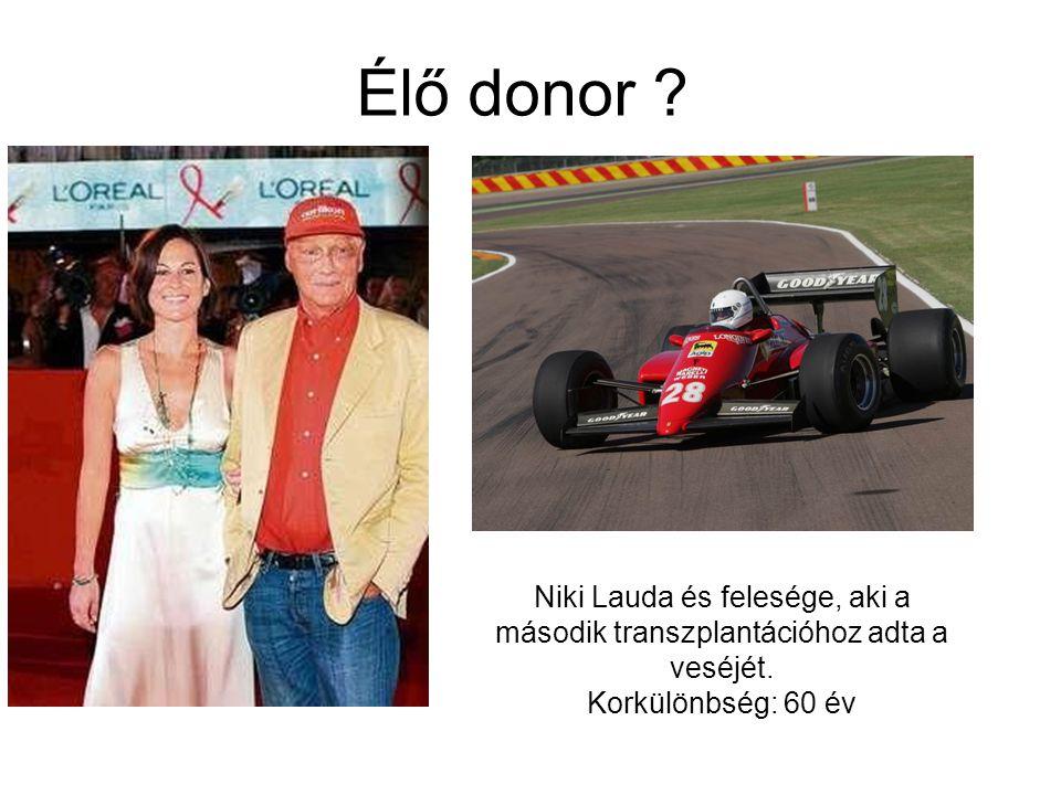 Élő donor ? Niki Lauda és felesége, aki a második transzplantációhoz adta a veséjét. Korkülönbség: 60 év