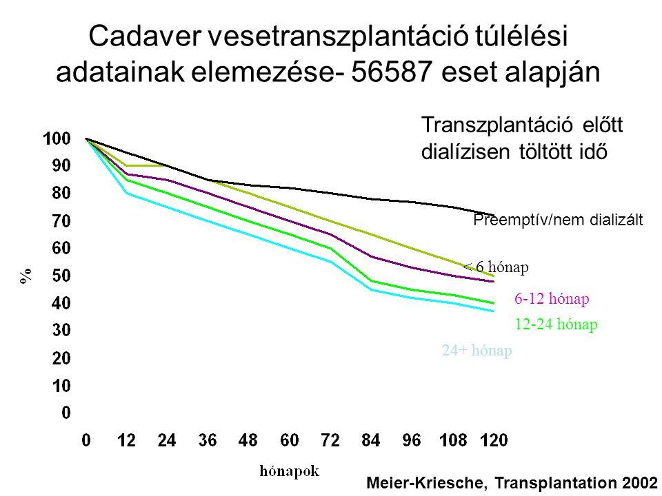 Cadaver vesetranszplantáció túlélési adatainak elemezése- 56587 eset alapján Preemptív/nem dializált < 6 hónap 6-12 hónap 12-24 hónap 24+ hónap Transz