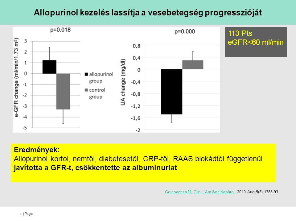 sl   Page Goicoechea MGoicoechea M, Clin J Am Soc Nephrol. 2010 Aug;5(8):1388-93Clin J Am Soc Nephrol. Allopurinol kezelés lassítja a vesebetegség pro