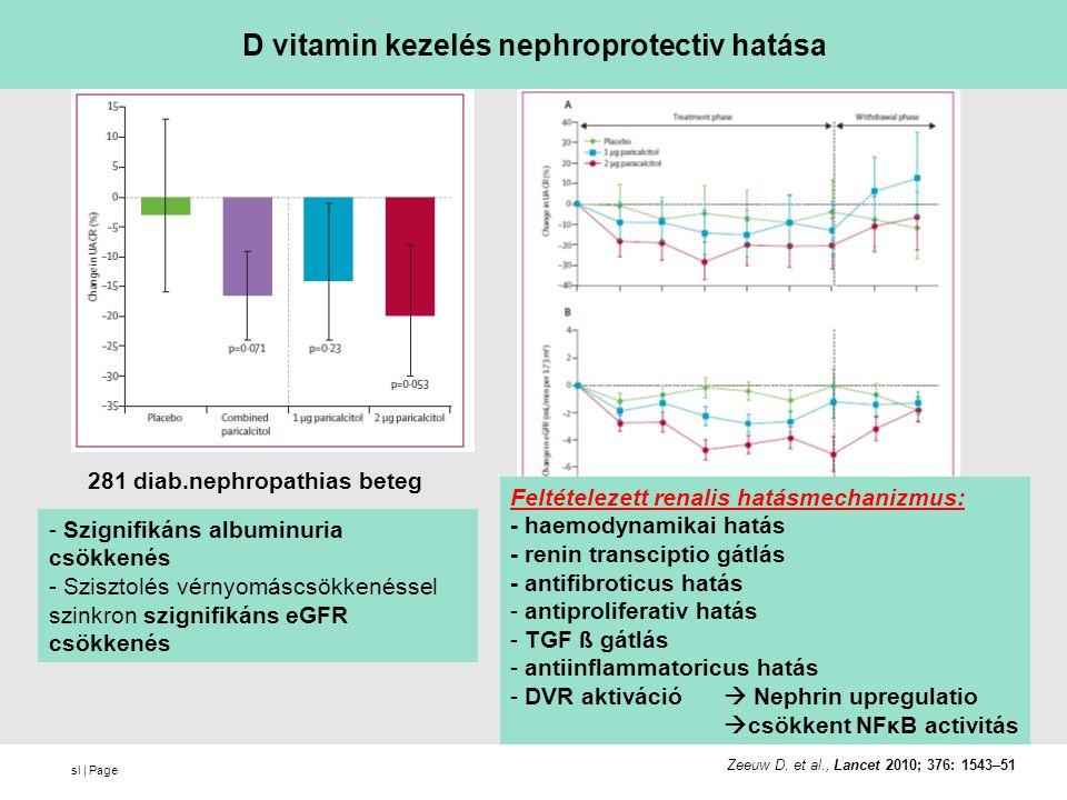 sl | Page D vitamin kezelés nephroprotectiv hatása - Szignifikáns albuminuria csökkenés - Szisztolés vérnyomáscsökkenéssel szinkron szignifikáns eGFR csökkenés Feltételezett renalis hatásmechanizmus: - haemodynamikai hatás - renin transciptio gátlás - antifibroticus hatás - antiproliferativ hatás - TGF ß gátlás - antiinflammatoricus hatás - DVR aktiváció  Nephrin upregulatio  csökkent NFκB activitás 281 diab.nephropathias beteg Zeeuw D.
