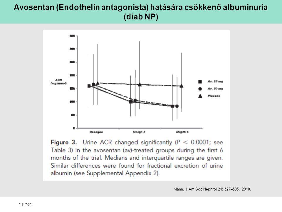 sl | Page Avosentan (Endothelin antagonista) hatására csökkenő albuminuria (diab NP) Mann, J Am Soc Nephrol 21: 527–535, 2010.