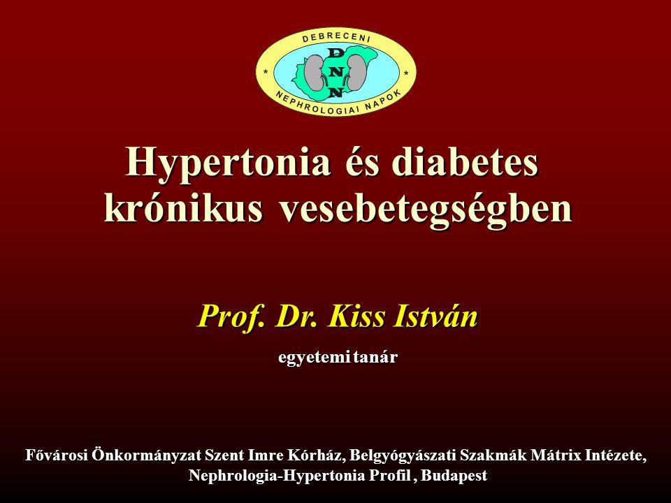 22 kissi_MDT-XXI Vérnyomás célérték HT és DM nephropathiában _120415 Metabolikus szindróma és krónikus veseelégtelenség ATP III – metabolikus szindróma kritérium Bármely három a felsoroltak közül: Abdominális obezitás Triglycerid emelkedés HDL-koleszterin csökkenés Hypertonia Éhgyomri vércukor emelkedés WHO – metabolikus szindróma kritérium Inzulin rezisztencia (egy a felsoroltak közül): 2-es típusú diabetes mellitus, éhgyomri vércukor emelkedés, csökkent glukóz tolerancia + Kettő a felsoroltak közül: Hypertonia, antihypertensiv kezelés Triglycerid emelkedés HDL-koleszterin csökkenés BMI > 30 kg/m 2 Chen et al., Ann Int Med 2004; 140: 167-174.