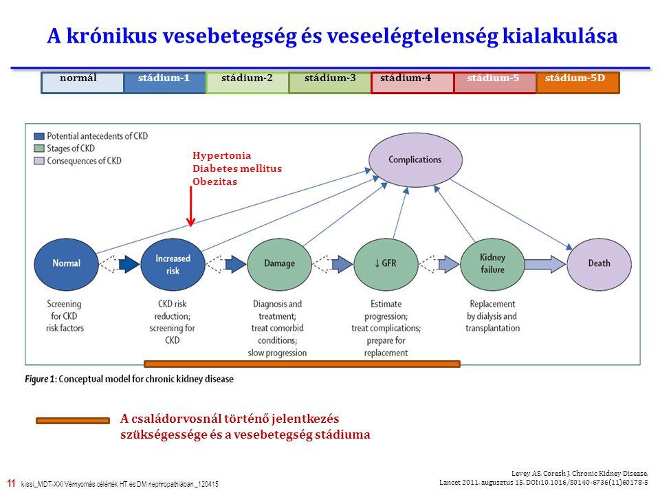 11 kissi_MDT-XXI Vérnyomás célérték HT és DM nephropathiában _120415 A krónikus vesebetegség és veseelégtelenség kialakulása Hypertonia Diabetes mellitus Obezitas Levey AS, Coresh J.