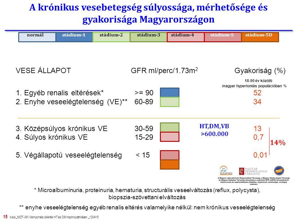 15 kissi_MDT-XXI Vérnyomás célérték HT és DM nephropathiában _120415 A krónikus vesebetegség súlyossága, mérhetősége és gyakorisága Magyarországon VESE ÁLLAPOT GFR ml/perc/1.73m 2 Gyakoriság (%) 18-90 év közötti magyar hypertoniás populációban % 1.