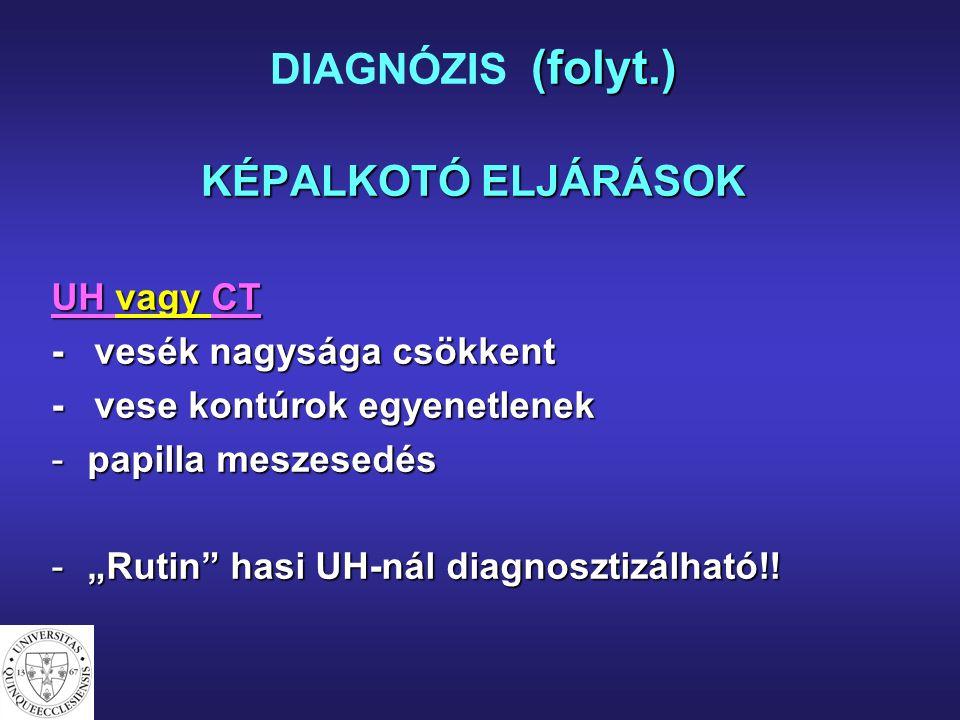 (folyt.) KÉPALKOTÓ ELJÁRÁSOK DIAGNÓZIS (folyt.) KÉPALKOTÓ ELJÁRÁSOK UH vagy CT - vesék nagysága csökkent - vese kontúrok egyenetlenek -papilla meszese