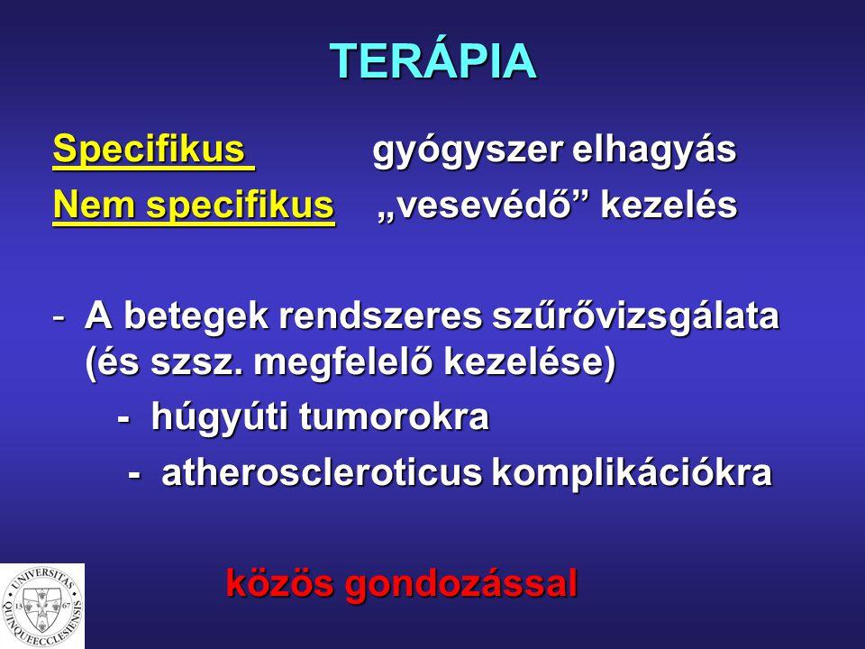 """TERÁPIA Specifikus gyógyszer elhagyás Nem specifikus """"vesevédő"""" kezelés -A betegek rendszeres szűrővizsgálata (és szsz. megfelelő kezelése) - húgyúti"""