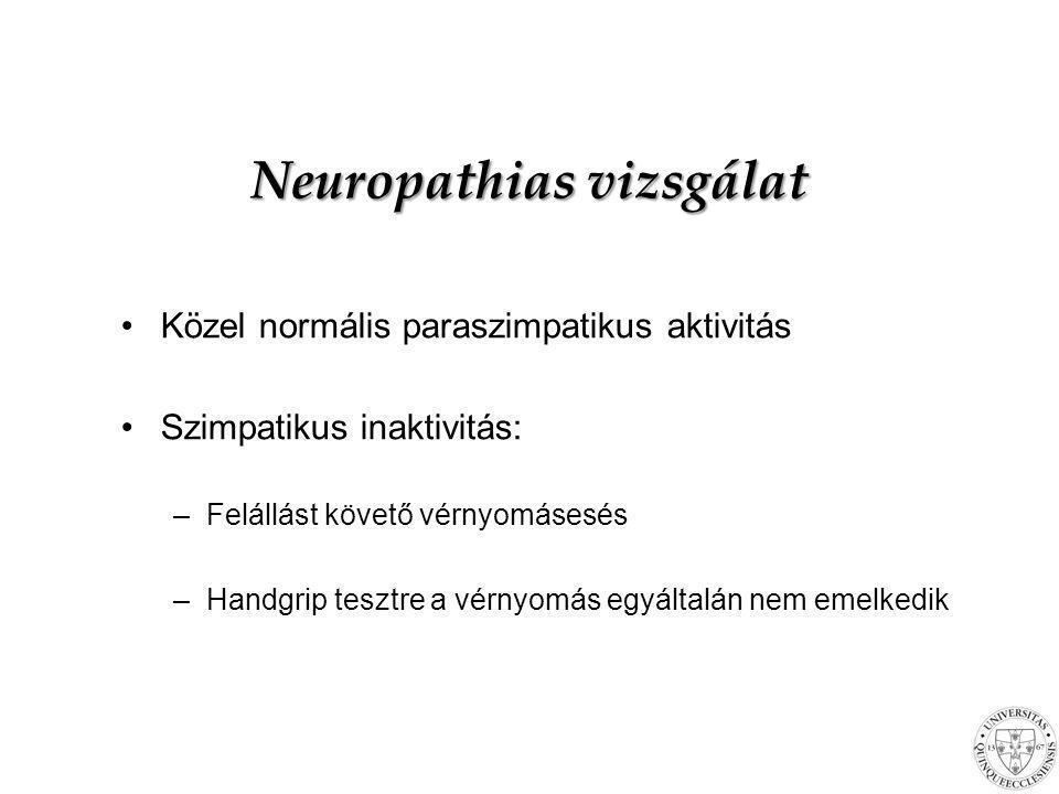Neuropathias vizsgálat Közel normális paraszimpatikus aktivitás Szimpatikus inaktivitás: –Felállást követő vérnyomásesés –Handgrip tesztre a vérnyomás