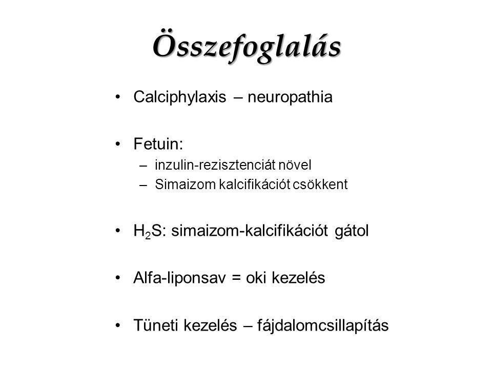 Összefoglalás Calciphylaxis – neuropathia Fetuin: –inzulin-rezisztenciát növel –Simaizom kalcifikációt csökkent H 2 S: simaizom-kalcifikációt gátol Al