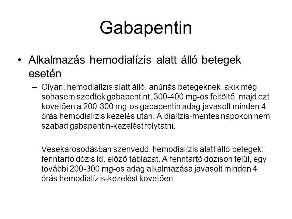 Gabapentin Alkalmazás hemodialízis alatt álló betegek esetén –Olyan, hemodialízis alatt álló, anúriás betegeknek, akik még sohasem szedtek gabapentint