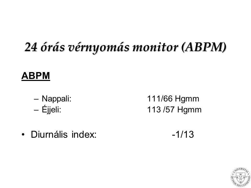 24 órás vérnyomás monitor (ABPM) ABPM –Nappali:111/66 Hgmm –Éjjeli:113 /57 Hgmm Diurnális index:-1/13