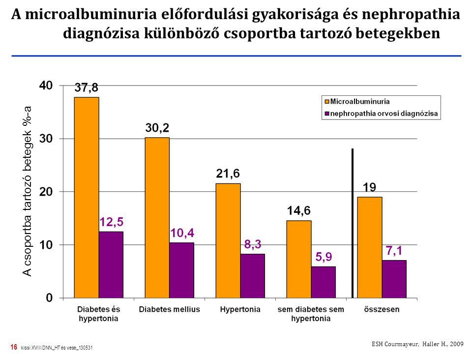 16 kissi XVIII DNN_HT és vese_130531 A csoportba tartozó betegek %-a A microalbuminuria előfordulási gyakorisága és nephropathia diagnózisa különböző