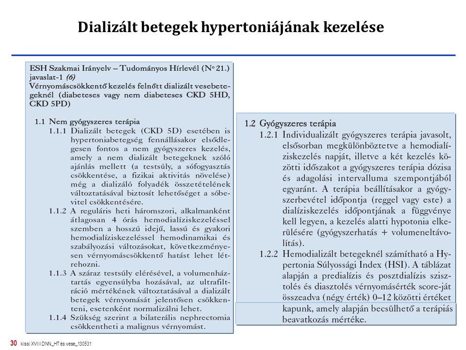 30 kissi XVIII DNN_HT és vese_130531 Dializált betegek hypertoniájának kezelése