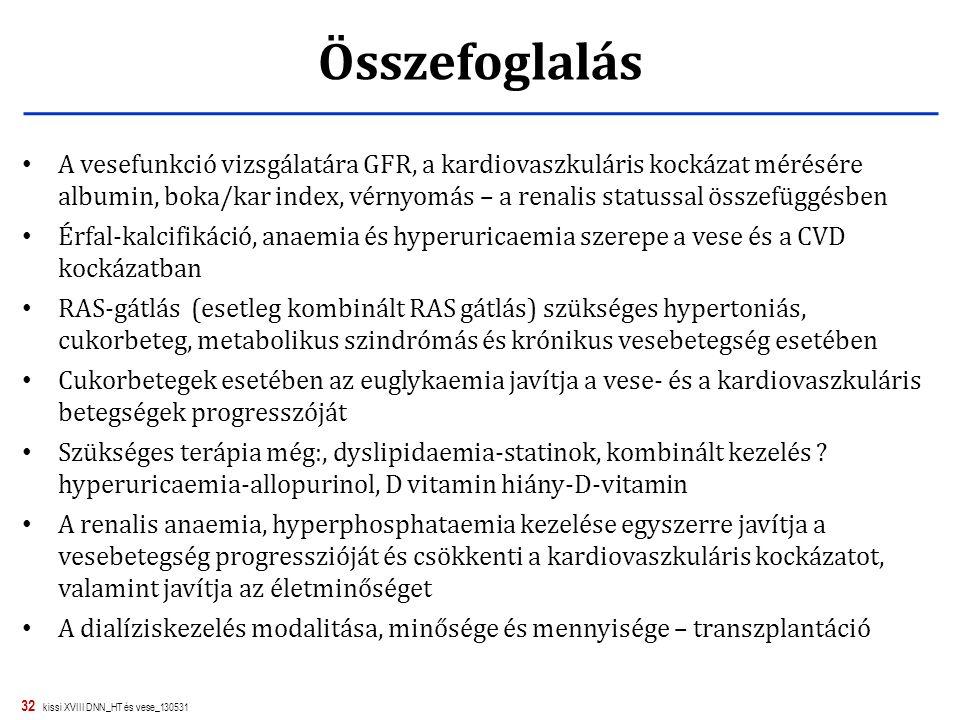 32 kissi XVIII DNN_HT és vese_130531 Összefoglalás A vesefunkció vizsgálatára GFR, a kardiovaszkuláris kockázat mérésére albumin, boka/kar index, vérn