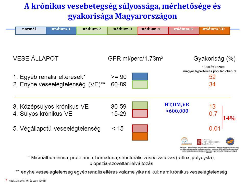 7 kissi XVIII DNN_HT és vese_130531 A krónikus vesebetegség súlyossága, mérhetősége és gyakorisága Magyarországon VESE ÁLLAPOT GFR ml/perc/1.73m 2 Gya