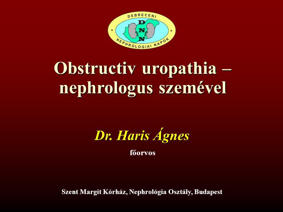 Az obstructiv uropathia ritka etiológiája, a retroperitonealis fibrosis 53 éves férfi Anamnesisében orrpolyp műtétek, DM, HTN 2001-ben deréktáji, alhasi, a csípők irányába sugárzó intermittáló fájdalom, majd hosszú ideig panaszmentes állapot 2005-ben ismét jelentkezik a fájdalom, hányinger, hányás, étvágytalanság, 12 kg-nyi fogyás, fáradékonyság, átmeneti lázas állapot.