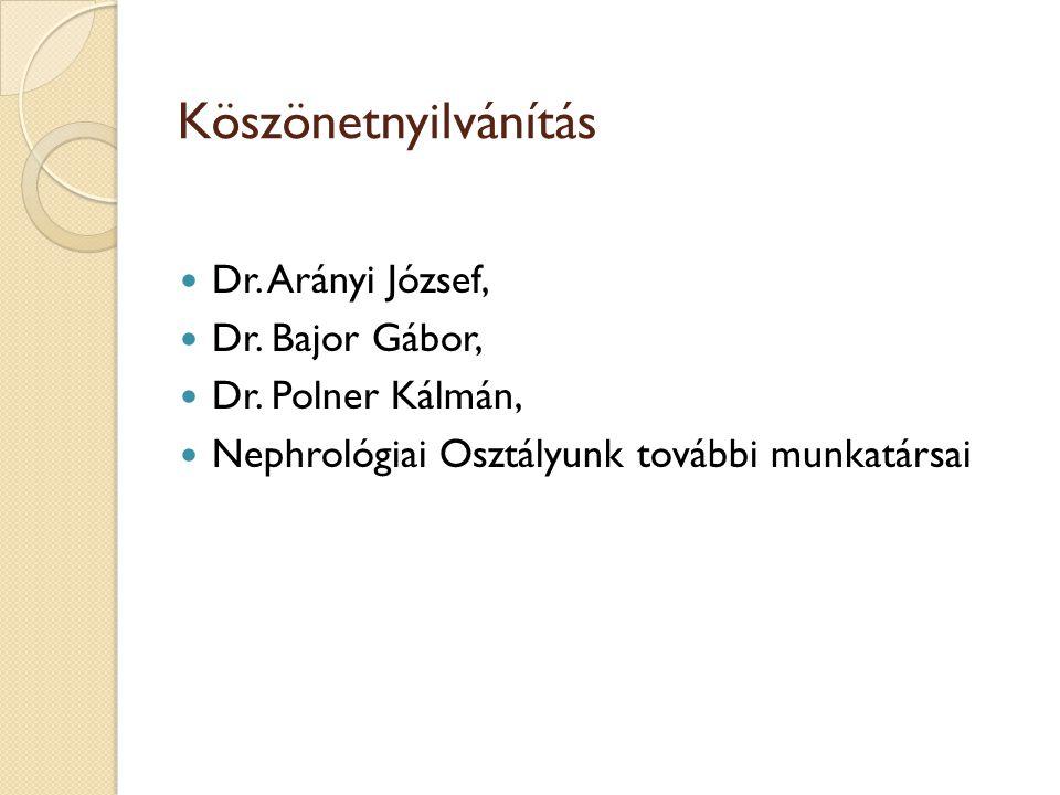 Köszönetnyilvánítás Dr. Arányi József, Dr. Bajor Gábor, Dr. Polner Kálmán, Nephrológiai Osztályunk további munkatársai