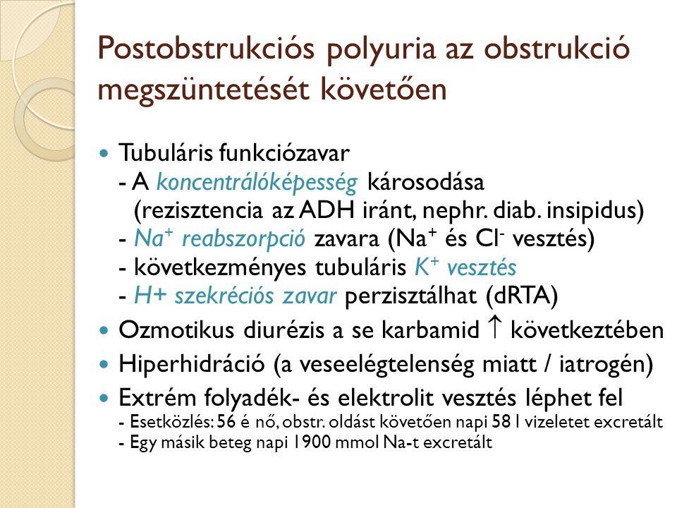 Postobstrukciós polyuria az obstrukció megszüntetését követően Tubuláris funkciózavar - A koncentrálóképesség károsodása (rezisztencia az ADH iránt, nephr.