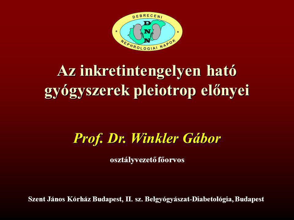 Az inkretintengelyen ható gyógyszerek pleiotrop előnyei Prof. Dr. Winkler Gábor osztályvezető főorvos Szent János Kórház Budapest, II. sz. Belgyógyász