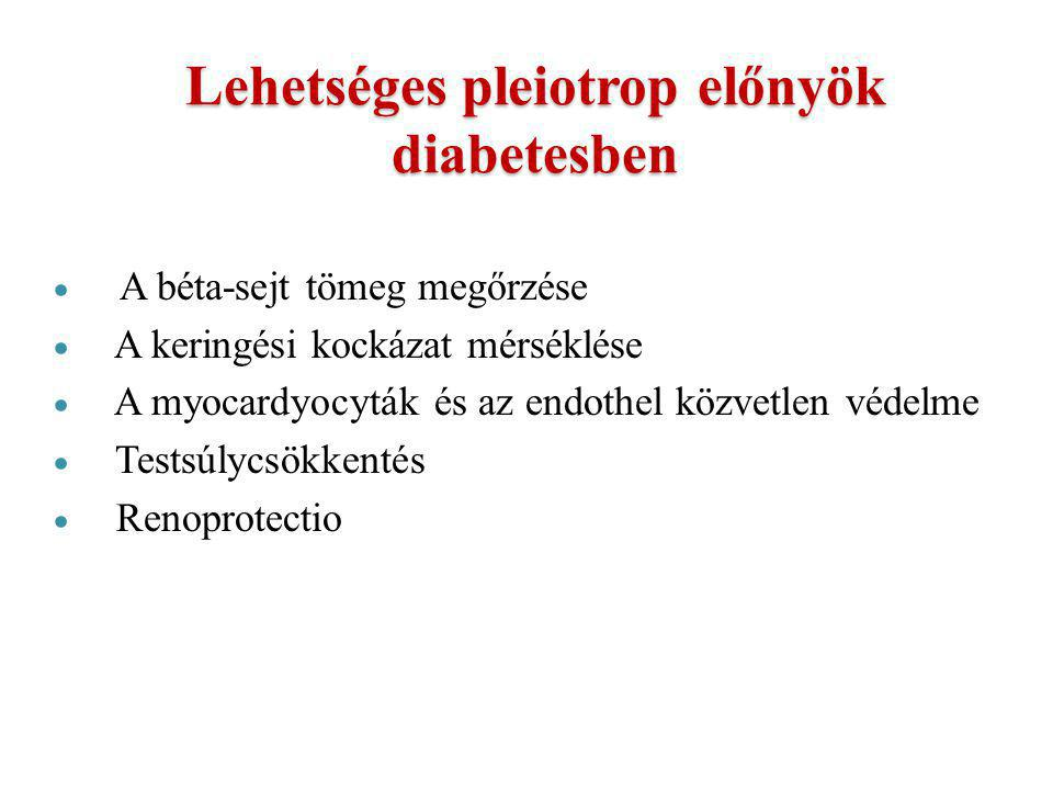 Lehetséges pleiotrop előnyök diabetesben  A béta-sejt tömeg megőrzése  A keringési kockázat mérséklése  A myocardyocyták és az endothel közvetlen v