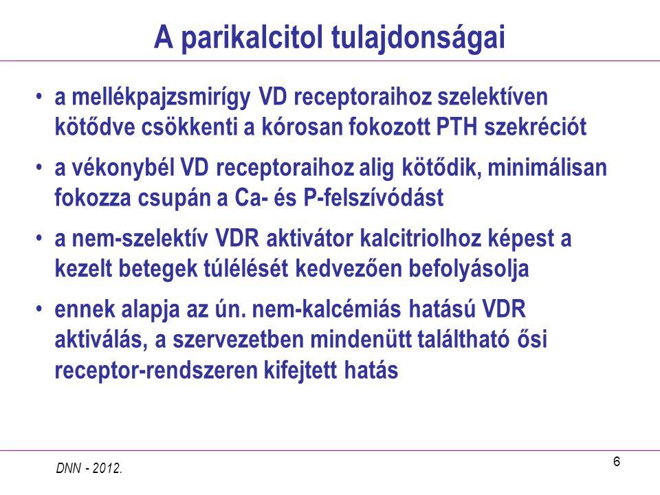 6 A parikalcitol tulajdonságai DNN - 2012. a mellékpajzsmirígy VD receptoraihoz szelektíven kötődve csökkenti a kórosan fokozott PTH szekréciót a véko