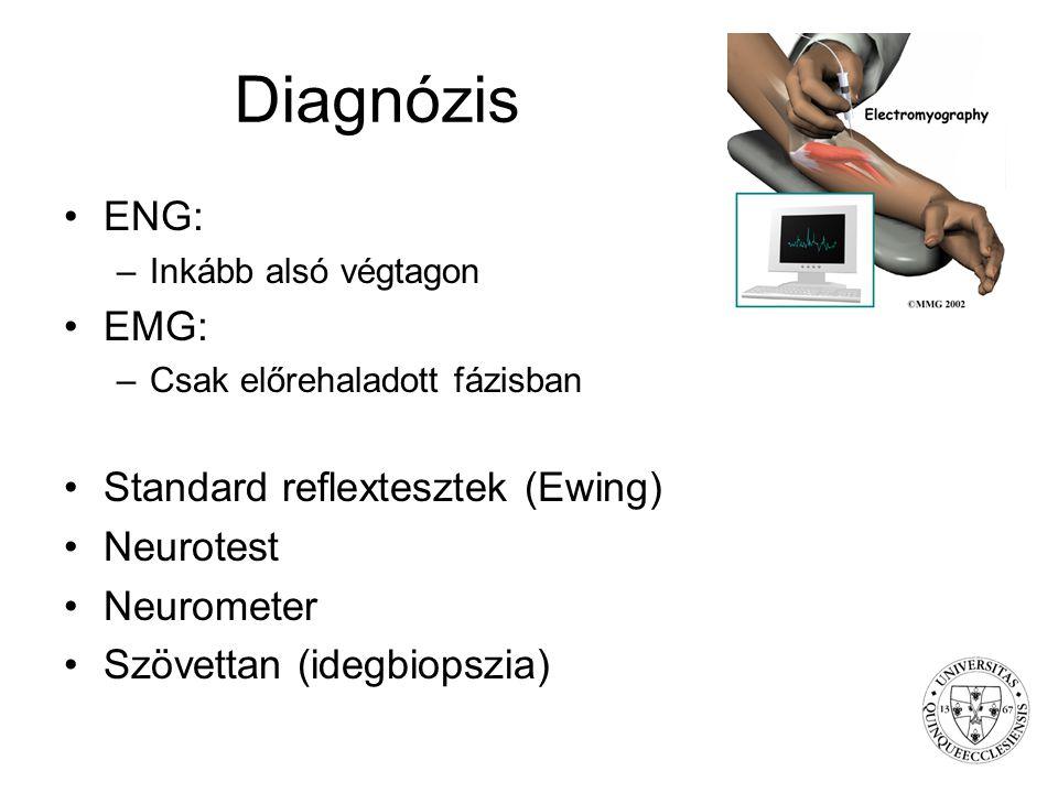 Diagnózis ENG: –Inkább alsó végtagon EMG: –Csak előrehaladott fázisban Standard reflextesztek (Ewing) Neurotest Neurometer Szövettan (idegbiopszia)