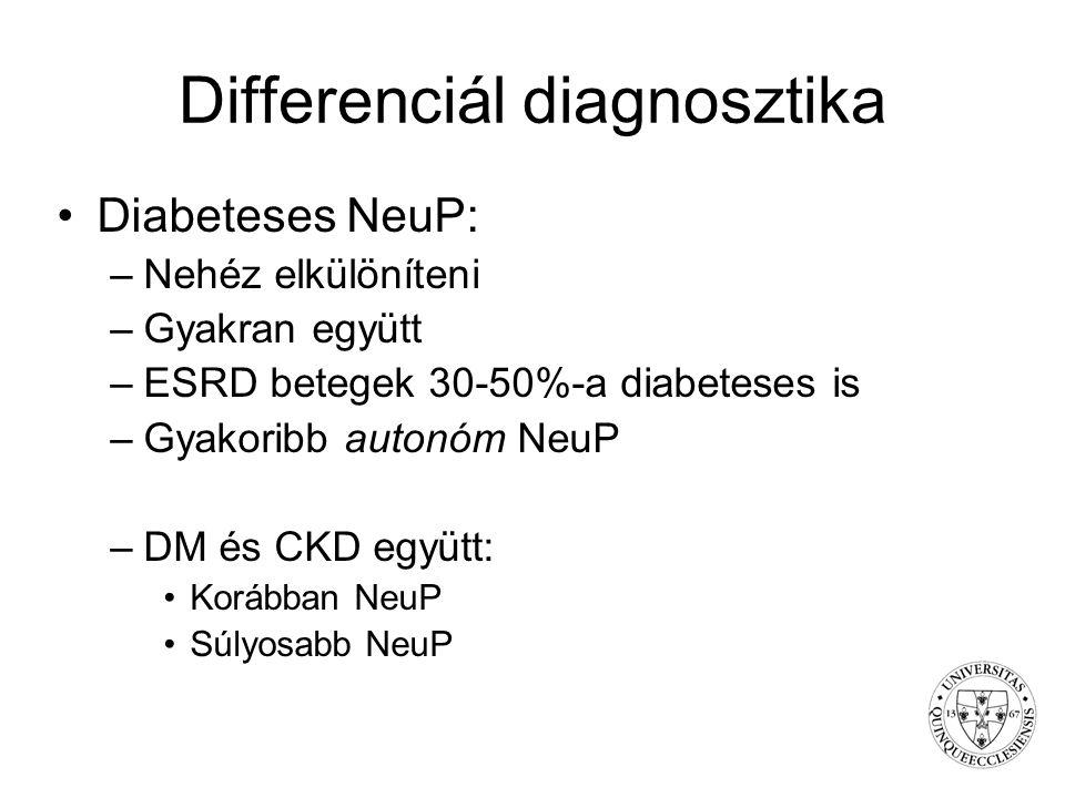 Differenciál diagnosztika Diabeteses NeuP: –Nehéz elkülöníteni –Gyakran együtt –ESRD betegek 30-50%-a diabeteses is –Gyakoribb autonóm NeuP –DM és CKD