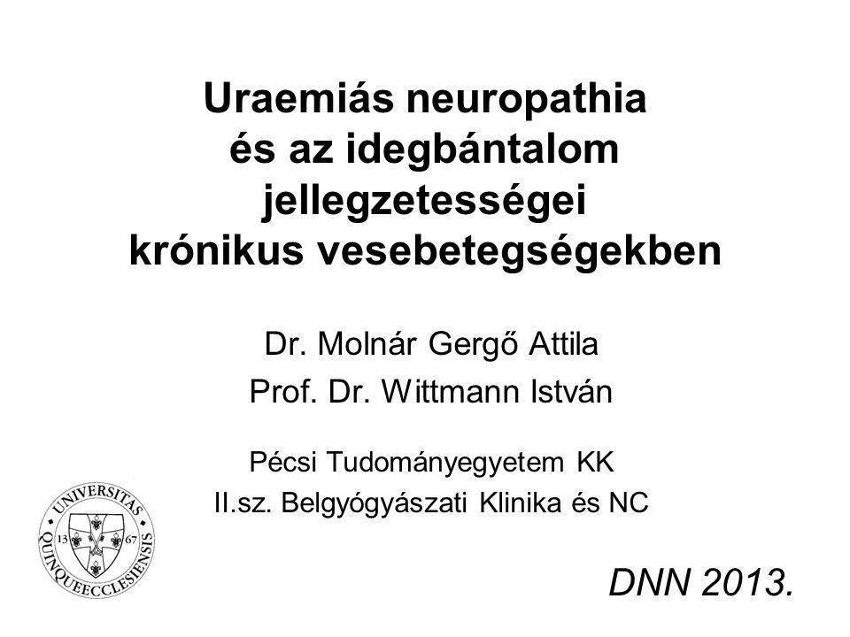 Uraemiás neuropathia és az idegbántalom jellegzetességei krónikus vesebetegségekben Dr. Molnár Gergő Attila Prof. Dr. Wittmann István Pécsi Tudományeg
