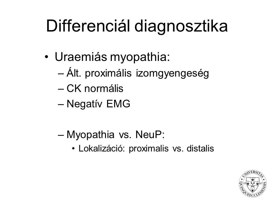 Differenciál diagnosztika Uraemiás myopathia: –Ált. proximális izomgyengeség –CK normális –Negatív EMG –Myopathia vs. NeuP: Lokalizáció: proximalis vs