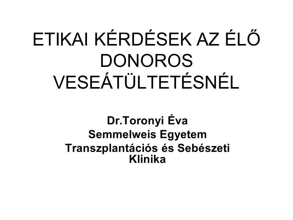 ETIKAI KÉRDÉSEK AZ ÉLŐ DONOROS VESEÁTÜLTETÉSNÉL Dr.Toronyi Éva Semmelweis Egyetem Transzplantációs és Sebészeti Klinika