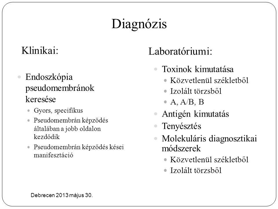 Diagnózis Klinikai: Laboratóriumi: Debrecen 2013 május 30. Endoszkópia pseudomembránok keresése Gyors, specifikus Pseudomembrán képződés általában a j
