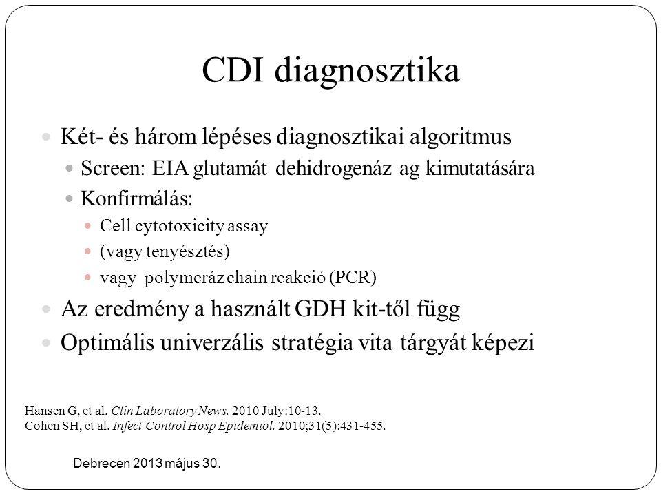 CDI diagnosztika Debrecen 2013 május 30. Két- és három lépéses diagnosztikai algoritmus Screen: EIA glutamát dehidrogenáz ag kimutatására Konfirmálás: