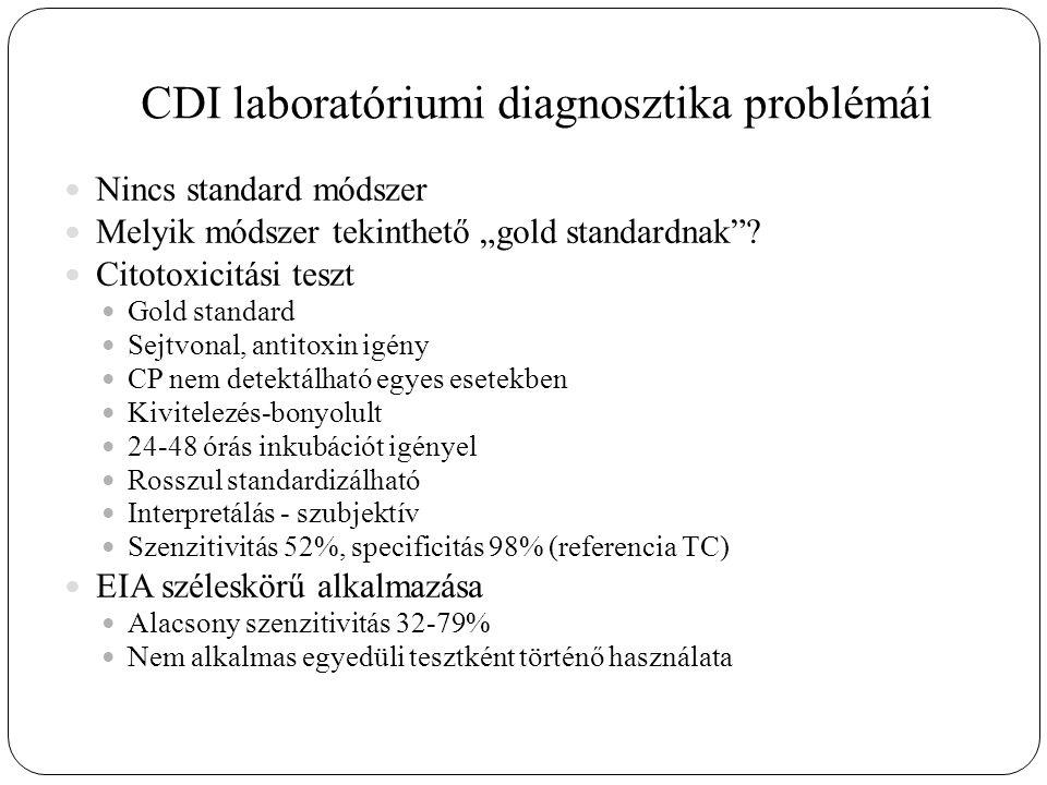 """CDI laboratóriumi diagnosztika problémái Nincs standard módszer Melyik módszer tekinthető """"gold standardnak ."""
