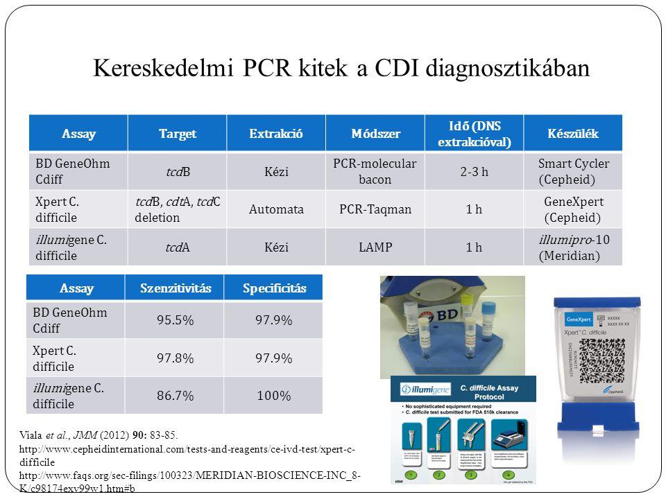 Kereskedelmi PCR kitek a CDI diagnosztikában AssayTargetExtrakcióMódszer Idő (DNS extrakcióval) Készülék BD GeneOhm Cdiff tcdBKézi PCR-molecular bacon 2-3 h Smart Cycler (Cepheid) Xpert C.