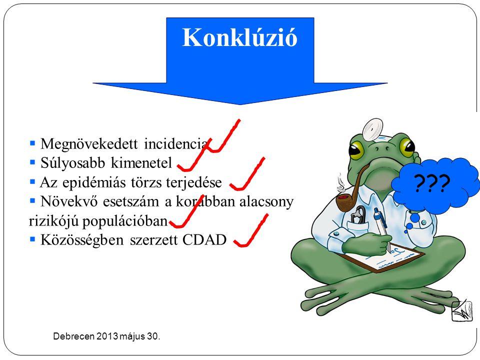 Konklúzió Debrecen 2013 május 30. ???  Megnövekedett incidencia  Súlyosabb kimenetel  Az epidémiás törzs terjedése  Növekvő esetszám a korábban al