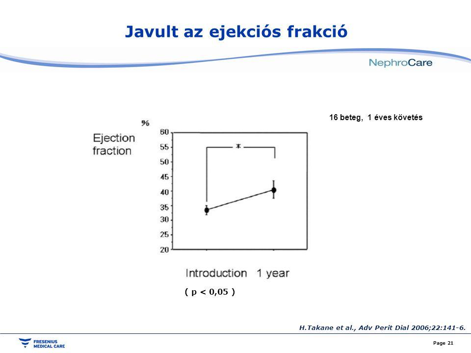 Javult az ejekciós frakció Page 21 H.Takane et al., Adv Perit Dial 2006;22:141-6. 16 beteg, 1 éves követés ( p < 0,05 )