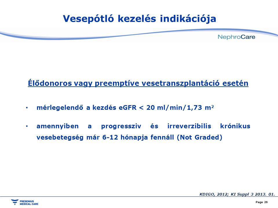 Vesepótló kezelés indikációja Page 26 Élődonoros vagy preemptíve vesetranszplantáció esetén mérlegelendő a kezdés eGFR < 20 ml/min/1,73 m 2 amennyiben