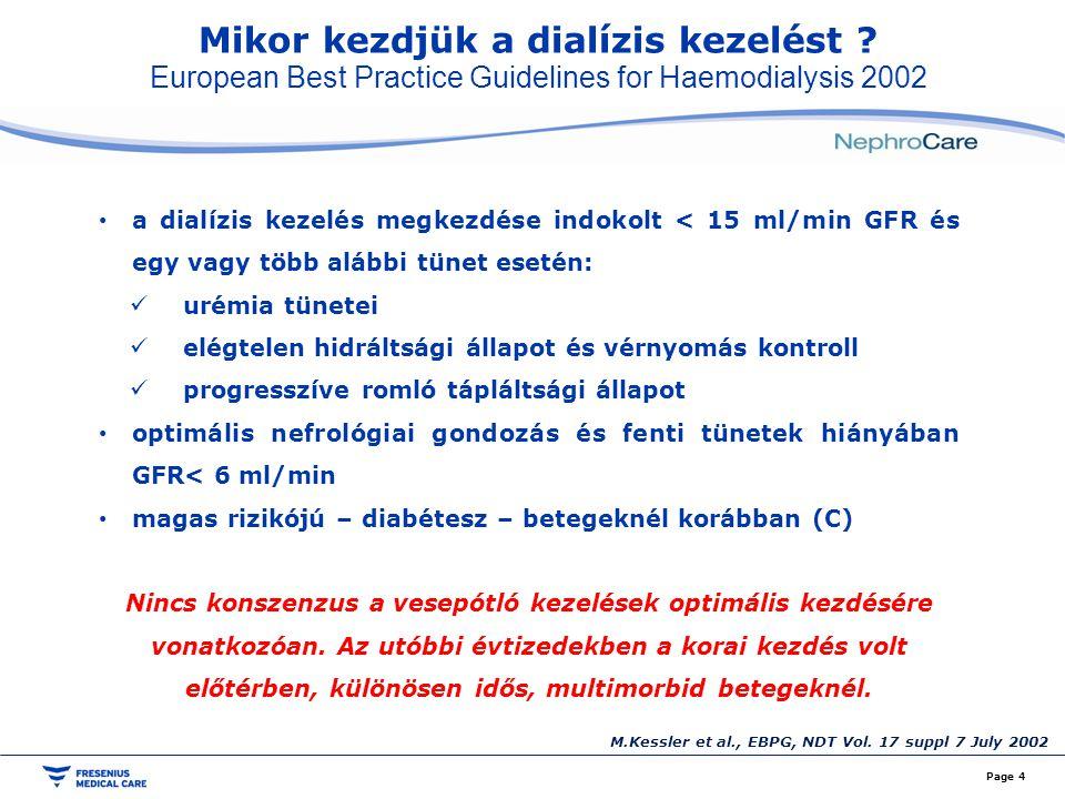 Mikor kezdjük a dialízis kezelést ? European Best Practice Guidelines for Haemodialysis 2002 Page 4 a dialízis kezelés megkezdése indokolt < 15 ml/min