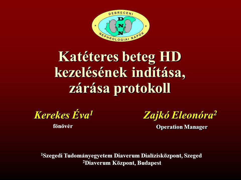 Katéteres beteg HD kezelésének indítása, zárása protokoll Kerekes Éva 1 főnővér 1 Szegedi Tudományegyetem Diaverum Dialízisközpont, Szeged 2 Diaverum