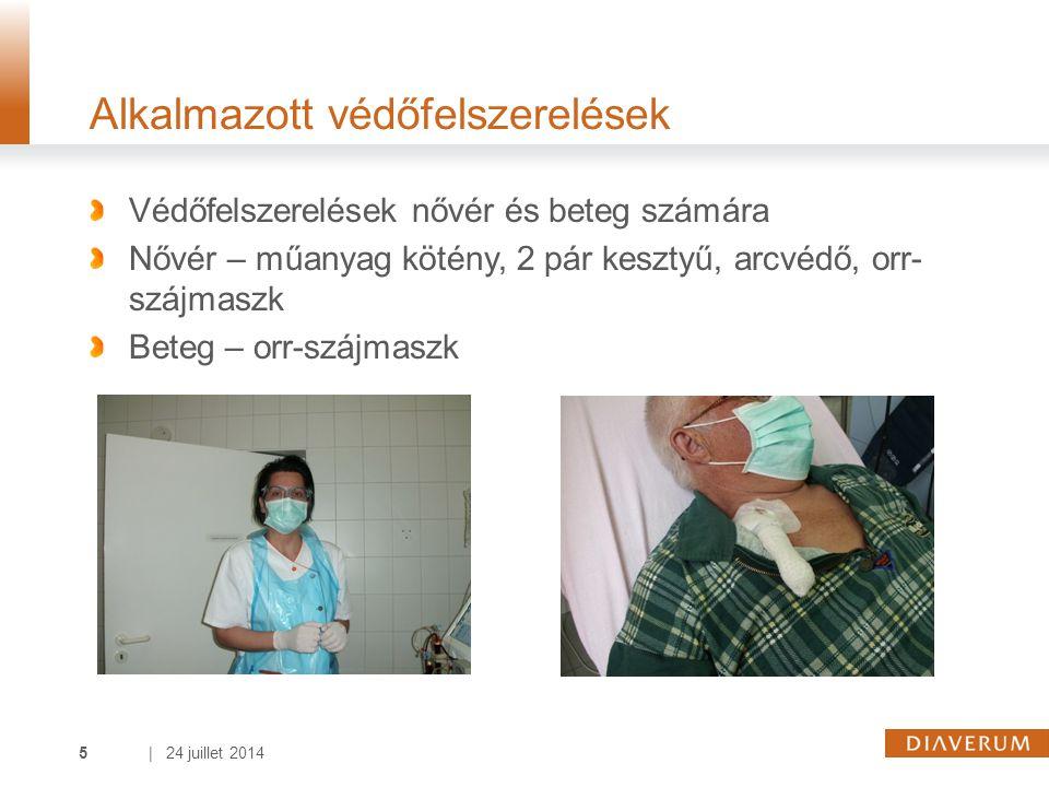 | 24 juillet 20145 Alkalmazott védőfelszerelések Védőfelszerelések nővér és beteg számára Nővér – műanyag kötény, 2 pár kesztyű, arcvédő, orr- szájmaszk Beteg – orr-szájmaszk